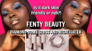 NEW FENTY BEAUTY DIAMOND BOMB+ DIAMOND MILK REVIEW | DARK SKIN