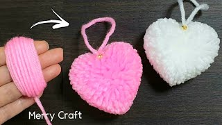 Easy Pom Pom Heart Making Idea with Fingers - Amazing Valentine's Day Craft - How to Make Yarn Heart