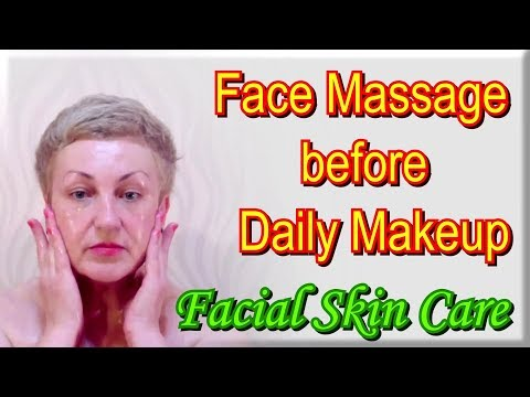 Facial Skin Care - Face Massage before applying the Daily Makeup