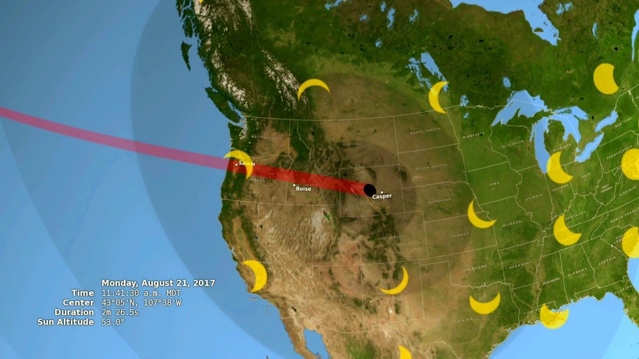 Total Solar Eclipse Path Through The United States YouTube - Us total eclipse 2017 map