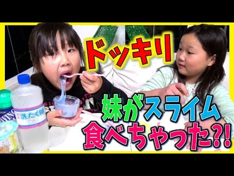 ドッキリ❗❗妹が手作りスライムを食べちゃった⁉😱小学生の姉はどうする❓DIY handmade slime toy surprise party 【しほりみチャンネル】