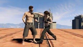 GTA V - Male vs Female Fight on Rooftop