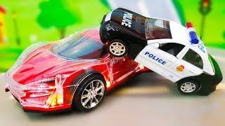 Мультики про машинки все серии. Цветной Экскаватор - Полицейские машинки. Видео для детей