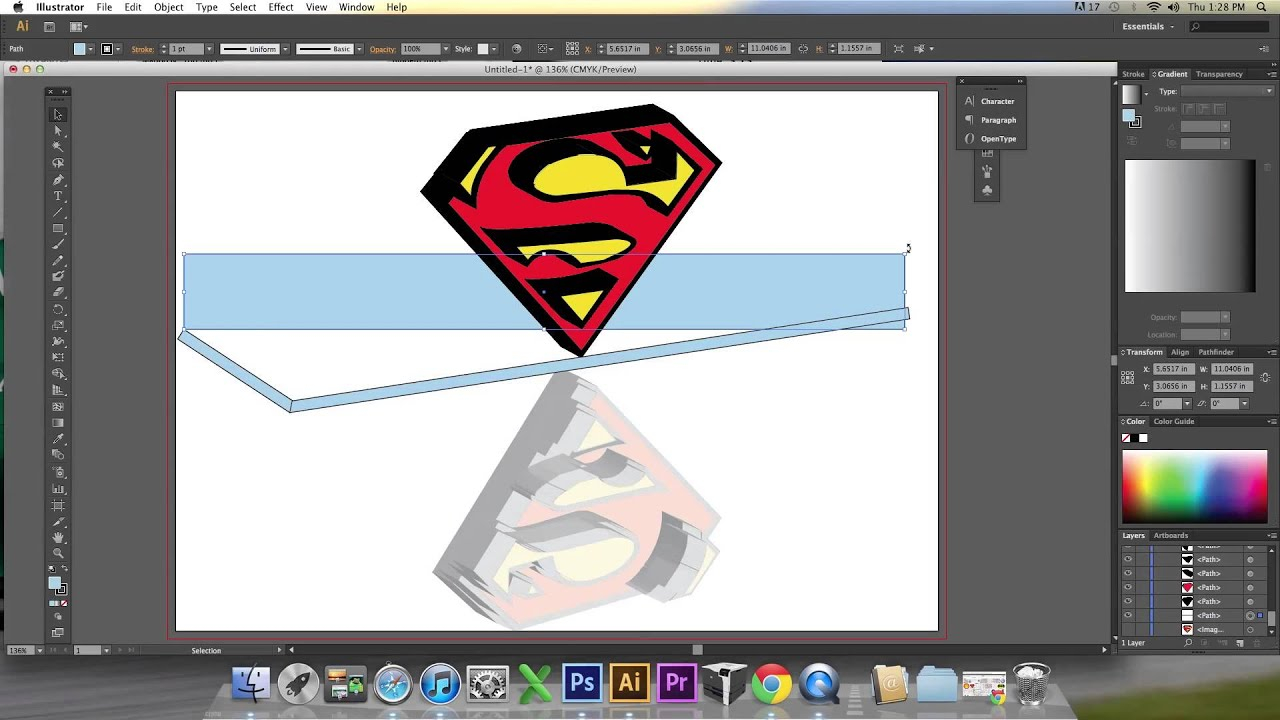 adobe illustrator turtorial cs6 create logo superman
