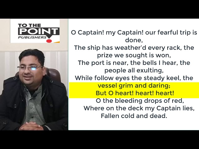 CAPTAIN O CAPTAIN BY WALT WHITMAN IN URDU/HINDI