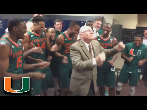 Jim Larranaga Dances In Locker Room After Miami's OT Win at Virginia