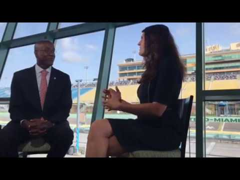 """Dean Wingard talks with NASCAR""""s Betsy Grider  