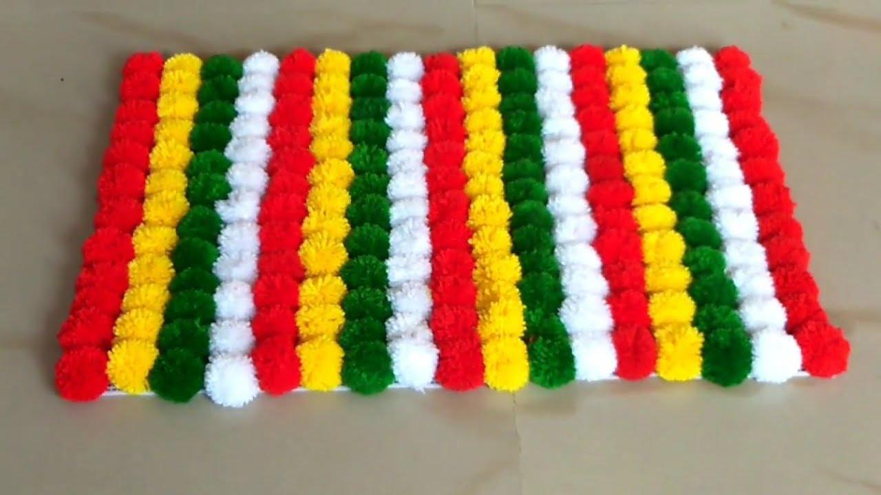 Diy How To Make Pom Pom Rug From Woolen Awesome Pom