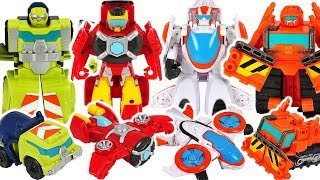 Transformers Rescue Bots Academy Hot Shot, Salvage, Blades! Defeat the dinosaurs! #DuDuPopTOY