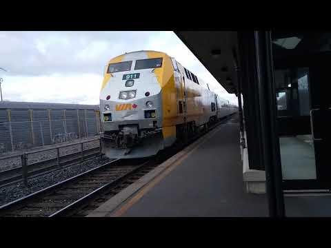 Via Rail with 40th anniversary engine 911 pulling into Aldershot