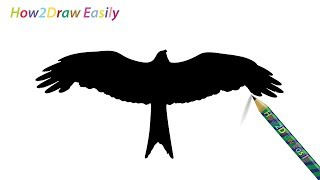 eagle silhouette easy draw drawing flying step