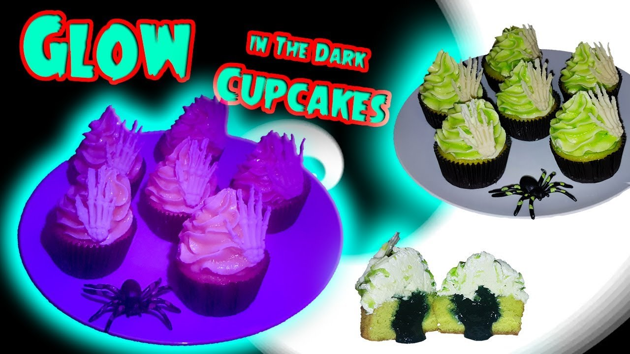 Glow In The Dark Halloween Cupcakes Strawberry filled Vanilla