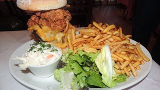 "Pulled Pork Triple Bacon Cheeseburger ""empire State"" Burger Challenge!!"