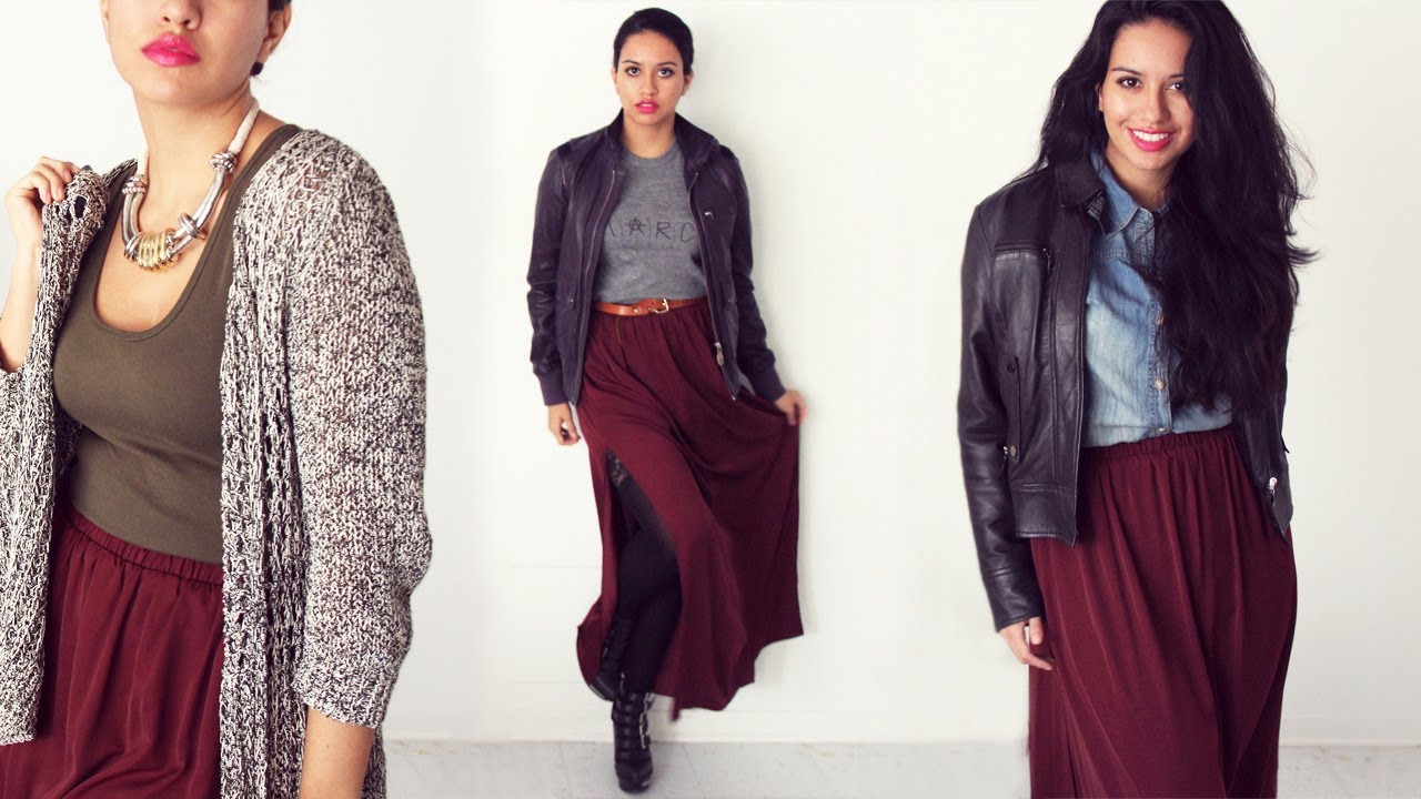 e40b287559 BURGUNDY MAXI SKIRT STYLING LOOKBOOK | Alexa LIKES - YouTube