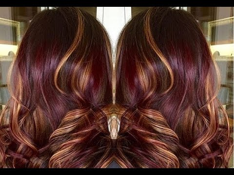 purple red hair color with caramel highlights youtube