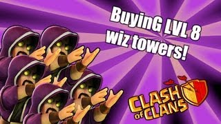 Clash of clans - WIZARD level 6 BUYING towers / troops ( None ShAll Pass )