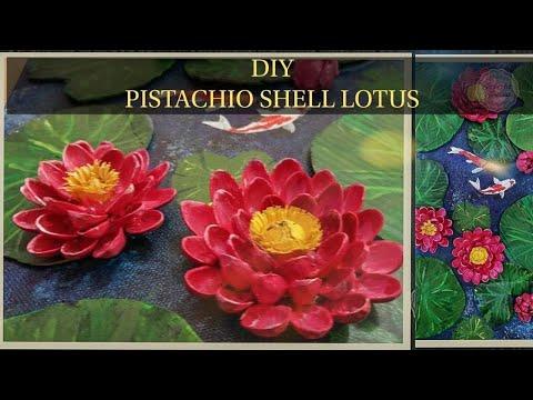 DIY Pistachio Shell Lotus/Koi fish & lotus pond painting/Mixed Media Art/Ep 33