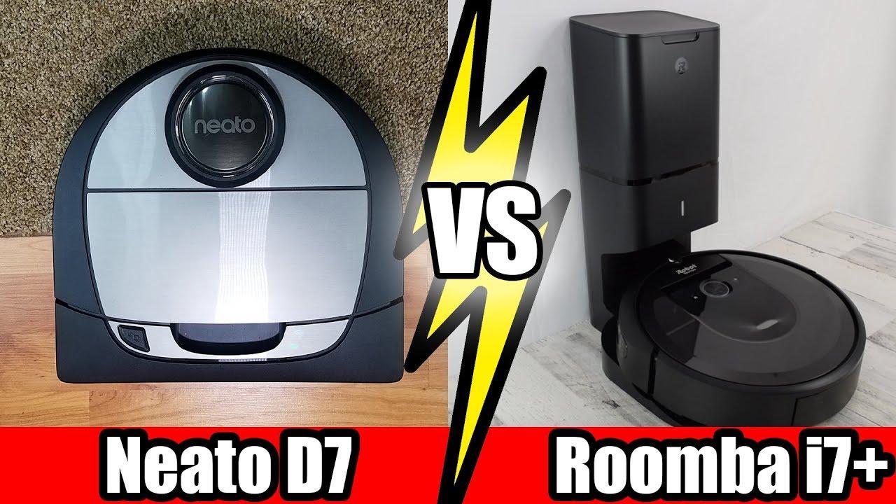 Roomba I7 Vs Neato D7 Tests Robot Vacuum Wars Youtube