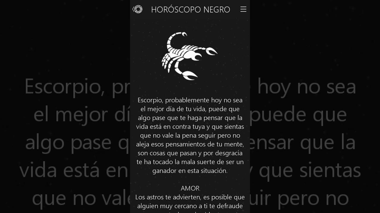 Horoscopo Negro De Escorpio Hoy Viernes 8 De Noviembre De 2019 Youtube Suena genial nah, no me interesa. horoscopo negro de escorpio hoy viernes