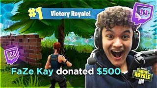 Donating $500 To 15 Year Old Kid For Winning Fortnite (Little Brother)