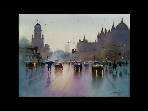 watercolour landscape painting | rainy cityscape | mumbai | after rain | Ganesh Hire