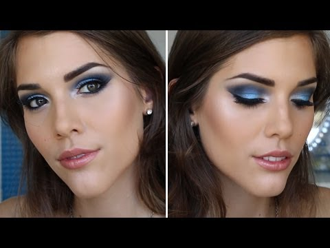 PROM MAKEUP TUTORIAL | BLUE SMOKEY EYES - YouTube