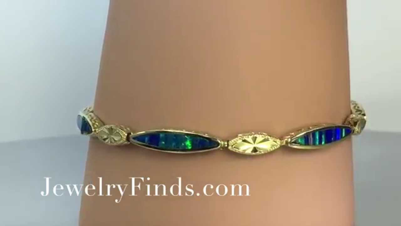 Black Opal Inlay & Hand Engraving 14k Yellow Gold Bracelet ...
