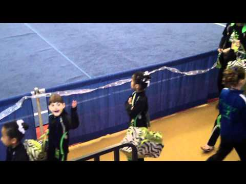 Roanoke Academy Gymnastics Novice Team entering gym @ Rockstar Invitational (01-29-12)