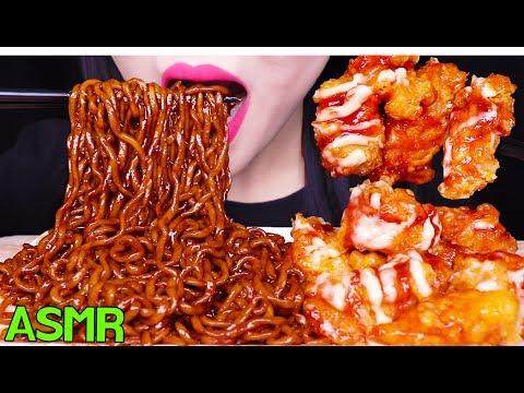 ASMR BLACK BEAN NOODLES + FRIED CHICKEN 처갓집 슈프림 양념치킨 짜파게티 먹방 (EATING SOUNDS) NO TALKING MUKBANG