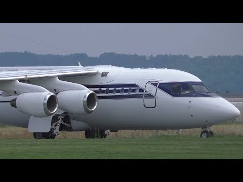 Formula One Management BAe 146-100 takeoff at Graz Airport   G-OFOM