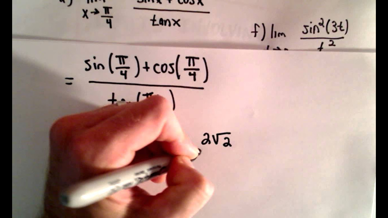 Limit Problems With Trig Part 1 Youtube