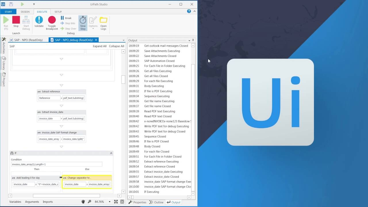 UiPath software robot at work processing invoices in SAP