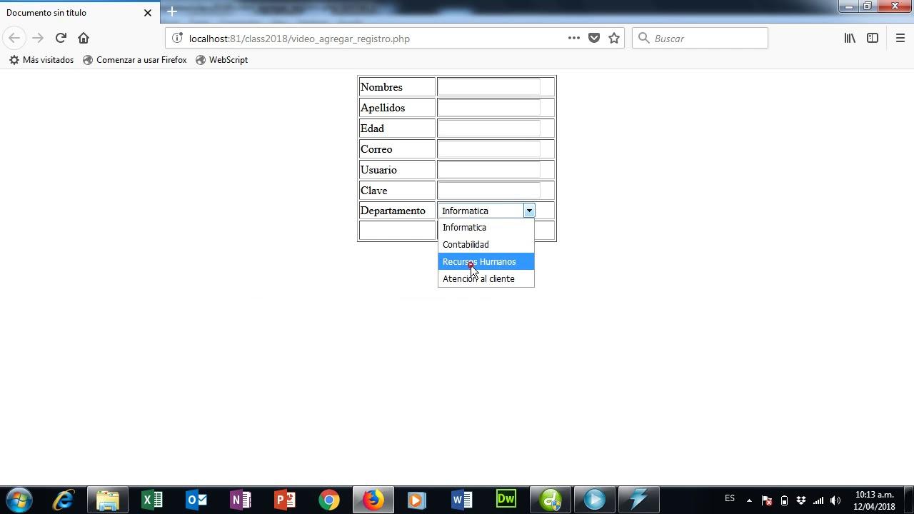 Agregar Registro php y mysqli - YouTube