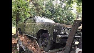 LONG LOST STREET RACING LEGEND 1967 CHEVELLE SS396 FOUND PARKED ON A CAR HAULER IN A SALVAGE YARD