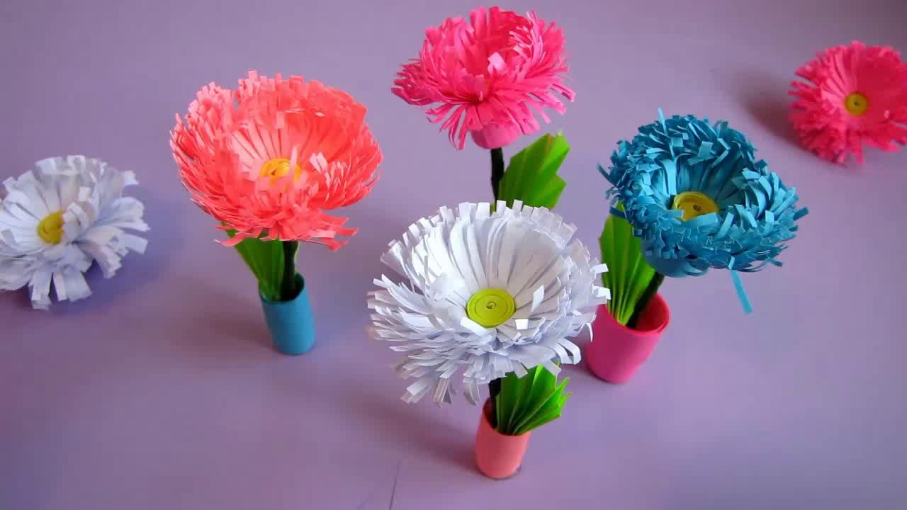 Small Paper Flower Pot Handmade Craft Home Decor Quilling