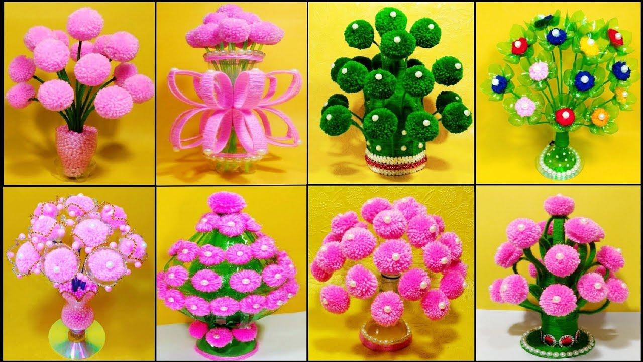 BEST HOME DECORATION IDEAS WITH WOOLEN /PLASTIC BOTTLE & WOOLEN GULDASTA/FLOWER VASE CRAFT IDEAS