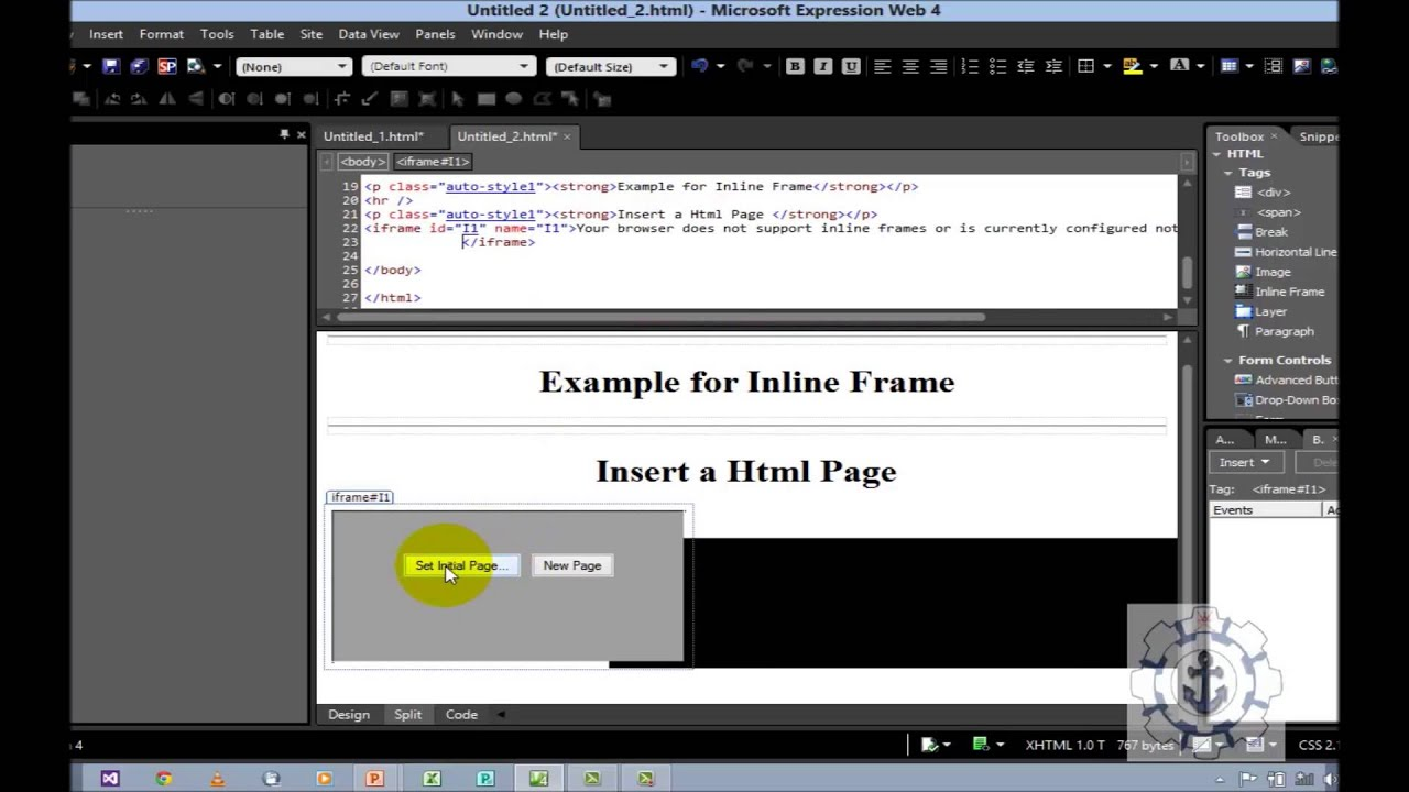 How to use line frame or iframe in Microsoft Expression Web 4.0 ...