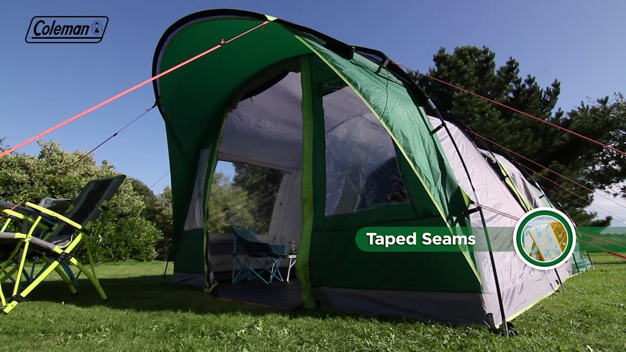 Coleman® Pinto Mountain 5 Plus - multi-roomed 5 man family tent with  Blackout Bedrooms