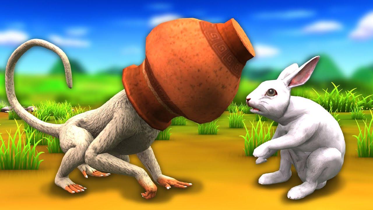 Magical Pot Foolish Monkey Clever Rabbit Hindi Kahaniya हिंदी कहनिया Hindi Stories