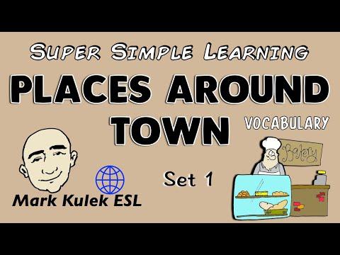 Places Around Town | Set 1 | Basic Vocabulary Practice | ESL | EFL