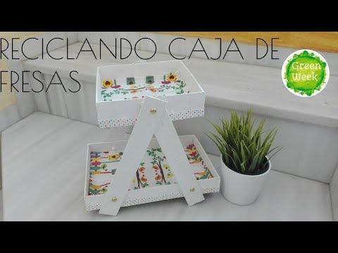Reciclando cajas de fresas bandeja para chuches mesa - Manualidades con cajas de madera ...
