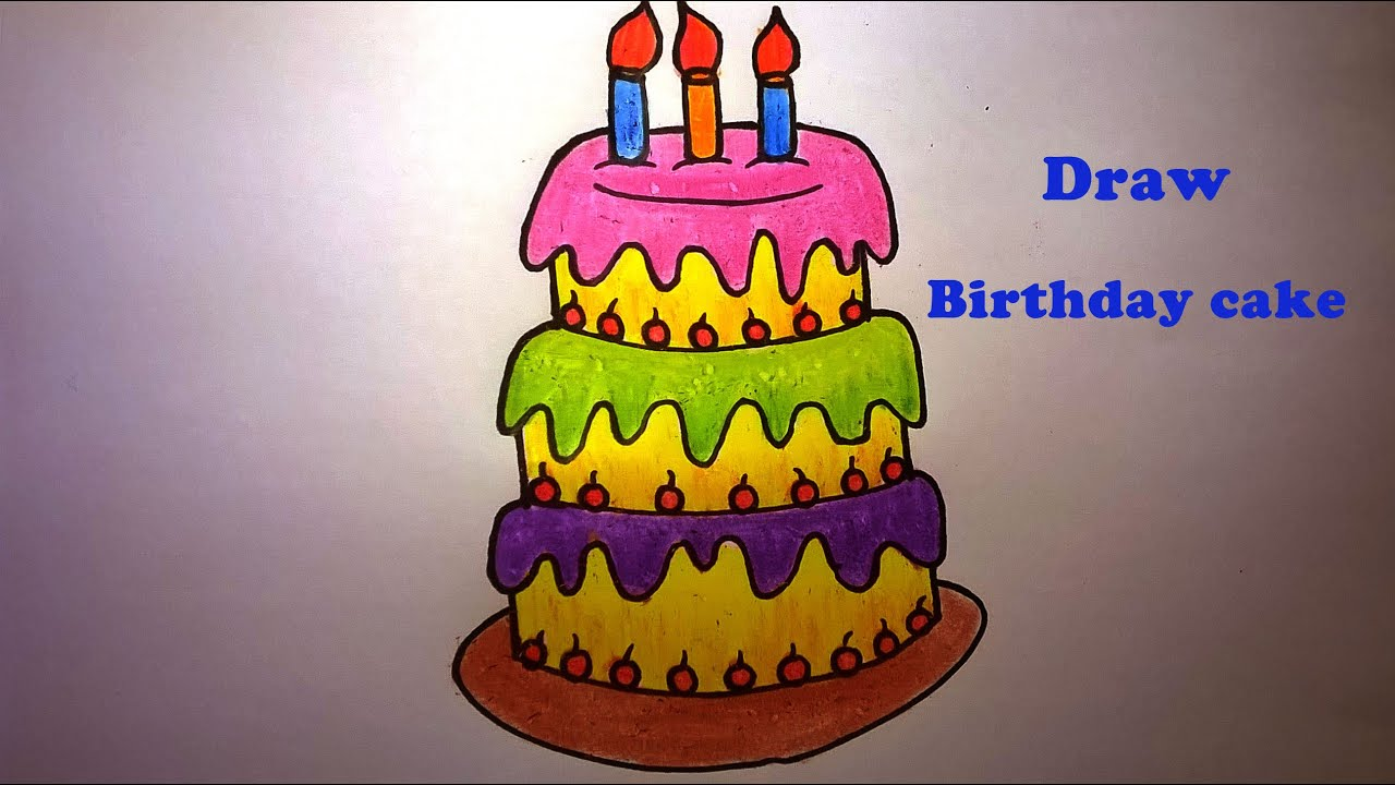 How To Draw A Birthday Cakehow To Draw And Color Birthday Cake For