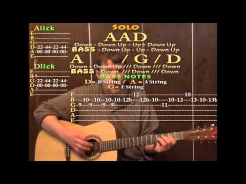 Get Back (The Beatles) Guitar Cover Lesson with Chords and Lyrics on the Screen