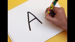 "How to turn Letter ""A"" into a Cartoon PARTY HAT ! Fun with Alphabets Drawing for kids"