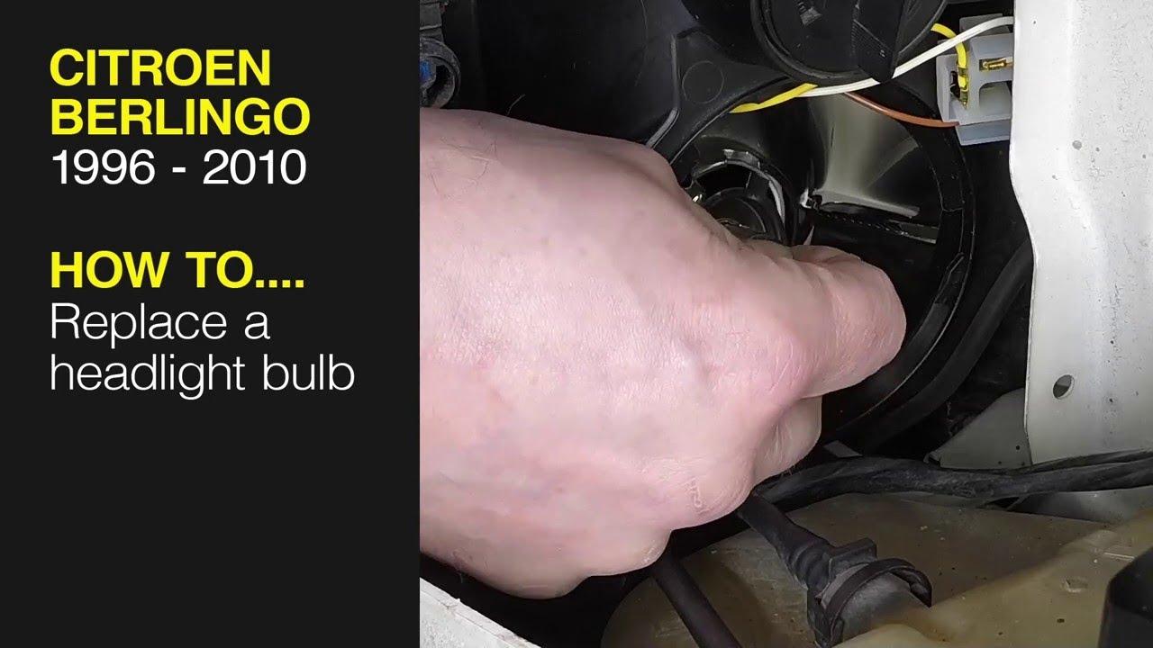 Change Headlight Bulb >> How To Change The Headlight Bulb On A Citroen Berlingo Peugeot Partner 1996 2010