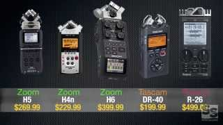 Handheld Recorder Review (Full): Zoom H6, H5, H4n, Tascam DR-40, Roland R-26