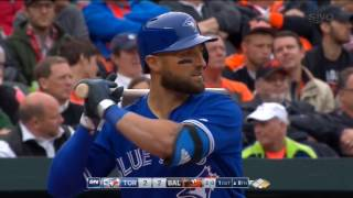 Kevin Pillar launching two bats into crowd at Camden Yards