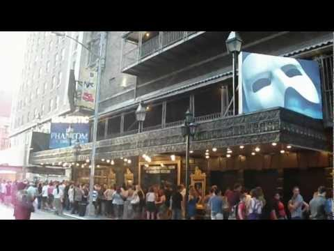 Outside the Majestic Theater in New York before Phantom of the Opera