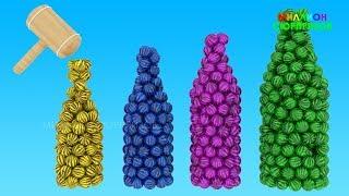 Учим цвета с 3Д Арбузами и Детскими Бутылочками | Животные для детей | Учим Цвета с Животными