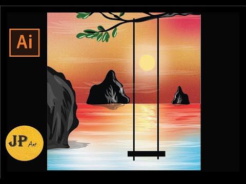 Scenery landscape illustration using Adobe Illustrator  Beginners tutorial thumbnail